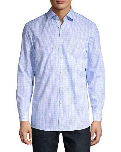 Синяя с рукавами классическая рубашка с воротником Boss Hugo Boss