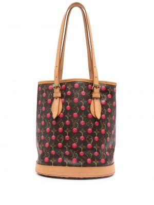 Brązowa torba na ramię skórzana z printem Louis Vuitton