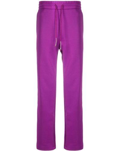Фиолетовые прямые брюки с поясом новогодние Wwwm