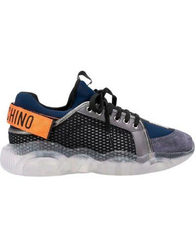 Niebieskie sneakersy na rzepy na co dzień Moschino