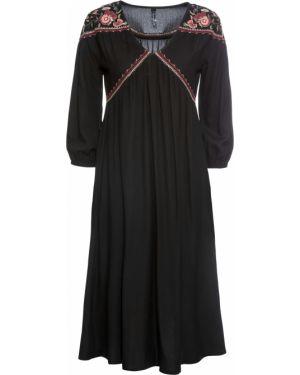 Платье миди с вышивкой с V-образным вырезом Bonprix
