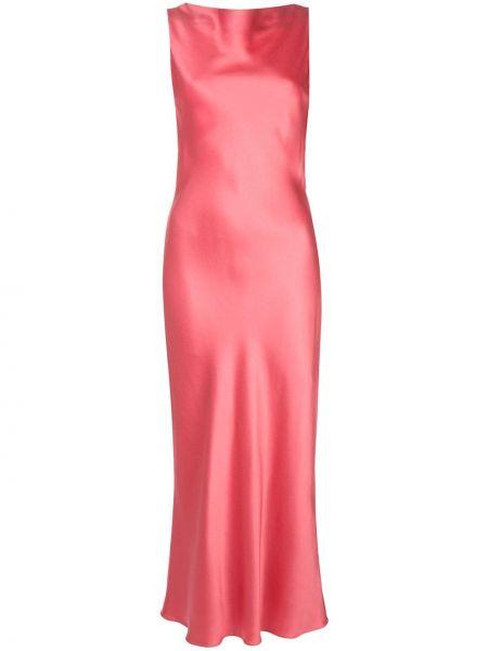 Розовое приталенное платье миди с открытой спиной без рукавов Jason Wu Collection