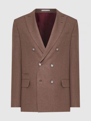 Шелковый коричневый пиджак Brunello Cucinelli