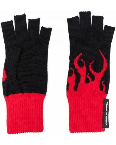 Rękawiczki bez palców wełniane - czarne Vision Of Super Kids