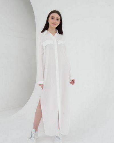 Платье с воротником с разрезом с карманами из штапеля Vovk