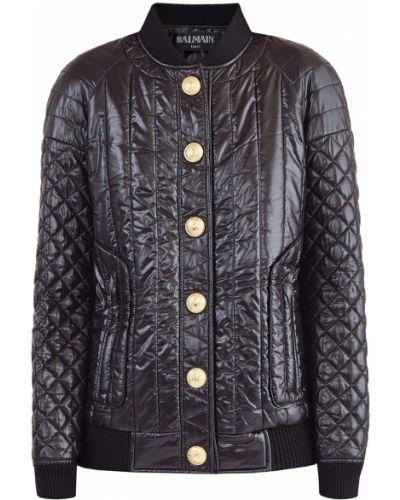 Стеганая куртка черная в полоску Balmain