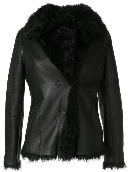 Черная кожаная куртка с воротником Paule Ka