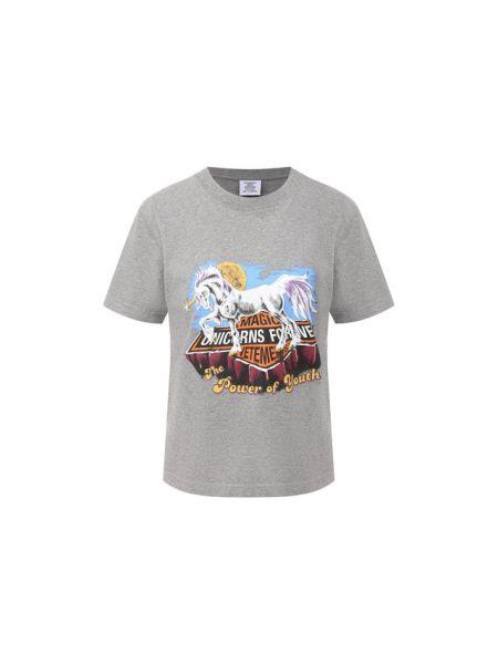 Хлопковая серая футболка Vetements