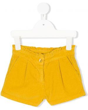 Желтые шорты вельветовые на молнии Knot