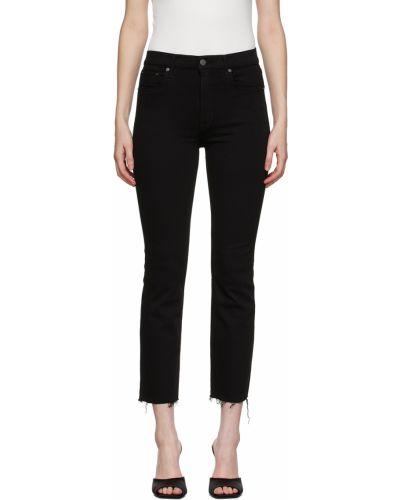 Czarne jeansy rurki z paskiem bawełniane Grlfrnd