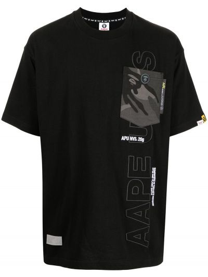 Черная футболка короткая Aape By A Bathing Ape