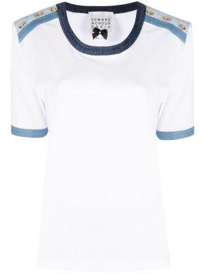 Niebieski t-shirt bawełniany krótki rękaw Edward Achour Paris