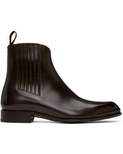 Brązowy buty na wysokości z prawdziwej skóry prążkowany na pięcie Brioni