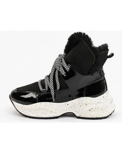 Черные кожаные высокие кроссовки Pazolini