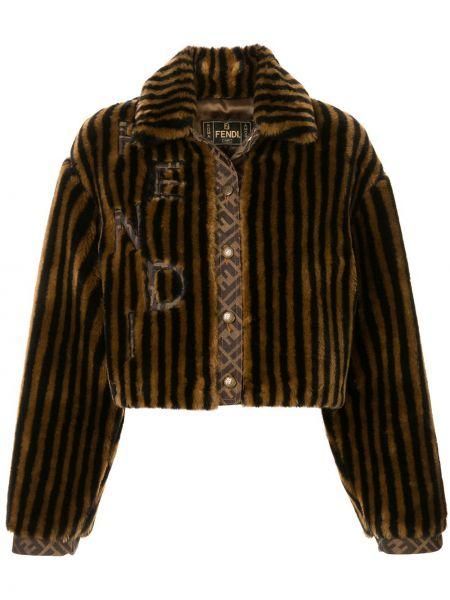 Черная куртка из искусственного меха винтажная Fendi Pre-owned