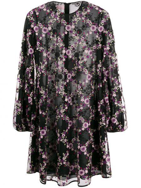 Czarna sukienka mini z długimi rękawami z siateczką Giamba