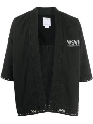 Ватное черное с рукавами хлопковое кимоно Visvim