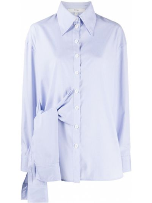Хлопковая синяя рубашка с воротником с длинными рукавами Tibi
