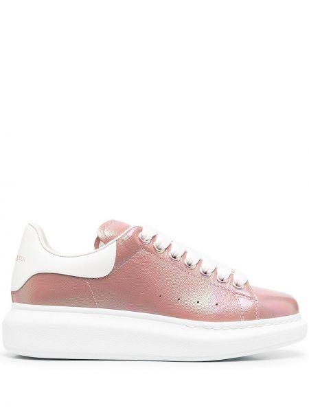 Skórzany różowy skórzane sneakersy na sznurowadłach okrągły Alexander Mcqueen
