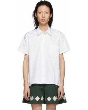 Белая рубашка с короткими рукавами с воротником с заплатками с карманами Namacheko
