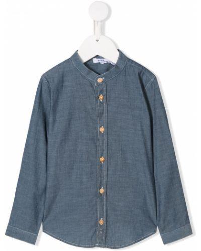 Хлопковая синяя юбка макси на пуговицах Knot