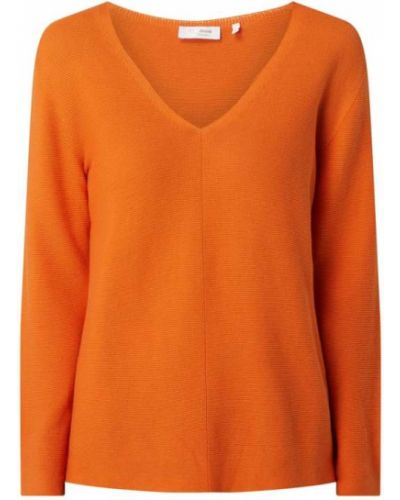Sweter z dekoltem w serek - pomarańczowy Rich & Royal