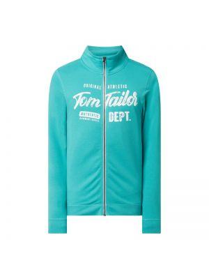 Bluza bawełniana z printem turkusowa Tom Tailor