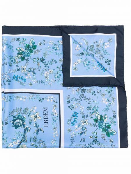 Niebieski szalik w kwiaty Erdem