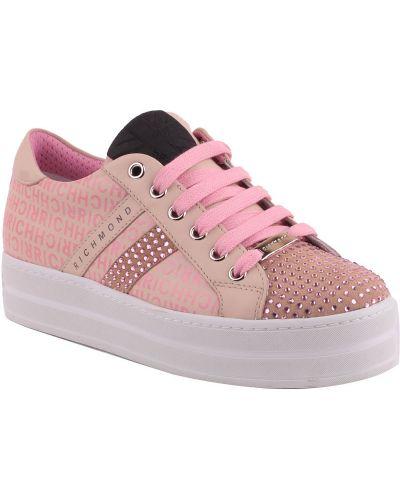 Розовые кроссовки на платформе Richmond