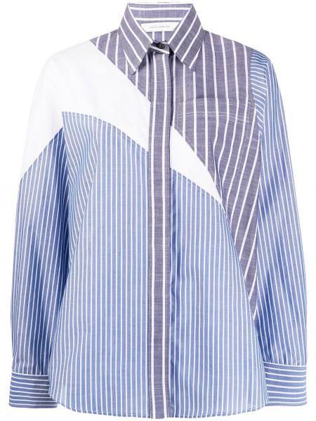 Niebieska klasyczna koszula bawełniana w paski Cedric Charlier