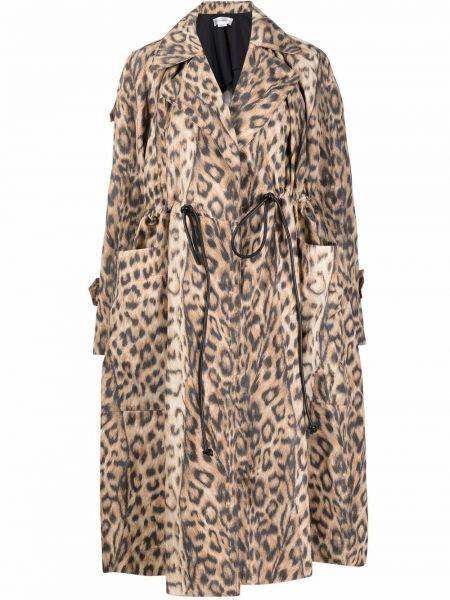 Черное кожаное пальто классическое с воротником Victoria Beckham