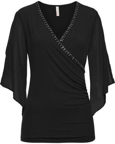 Блузка с запахом со стразами Bonprix