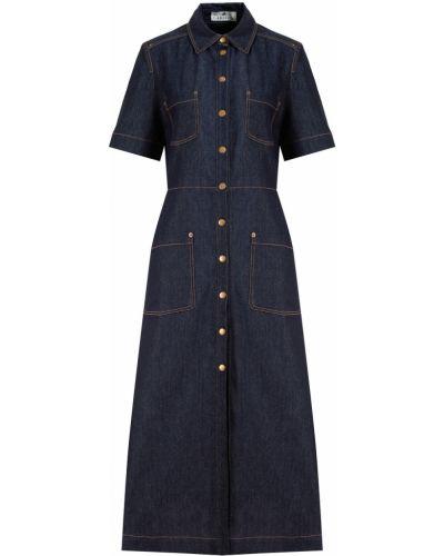 Хлопковое с рукавами синее джинсовое платье Laroom