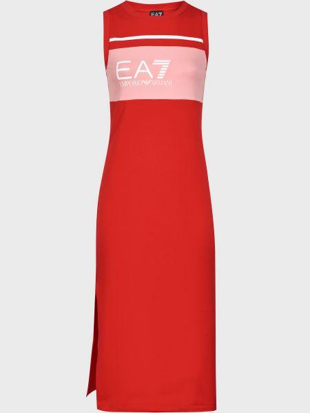 Хлопковое платье - красное Ea7 Emporio Armani