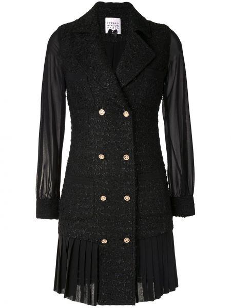 С рукавами черное платье миди двубортное на пуговицах Edward Achour Paris