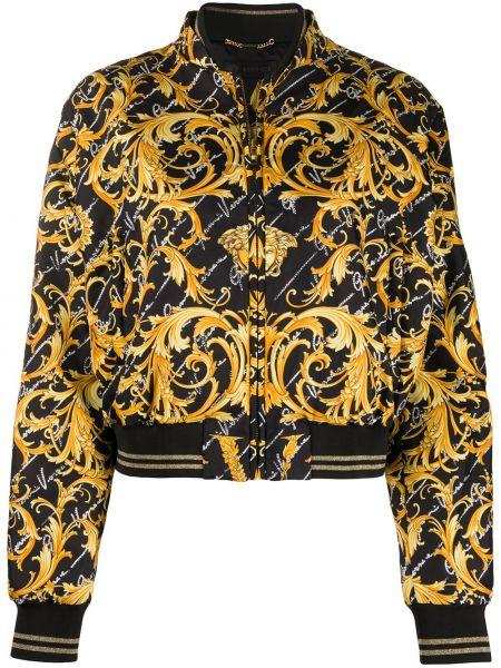 Шелковая черная куртка круглая с круглым вырезом Versace