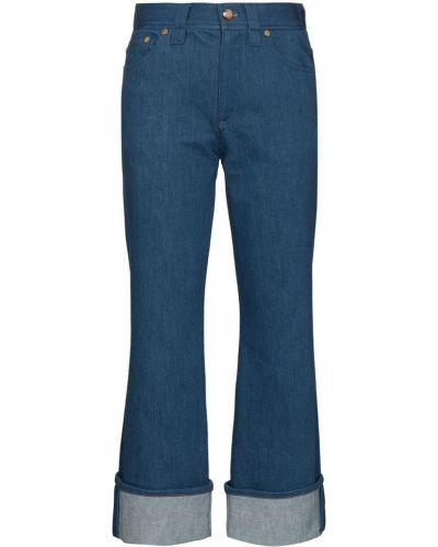 Расклешенные синие укороченные джинсы на молнии Chloé
