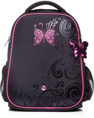 Школьный розовый ранец с бабочкой Hatber