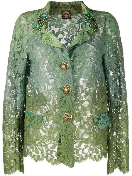 Зеленый кружевной пиджак с воротником A.n.g.e.l.o. Vintage Cult
