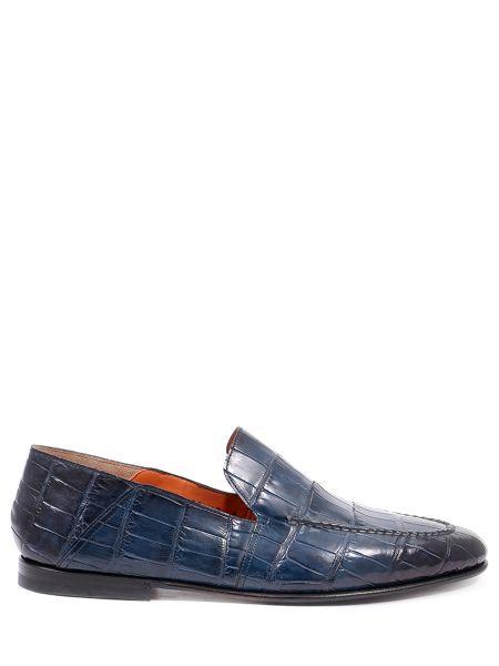 Синие кожаные лоферы Santoni