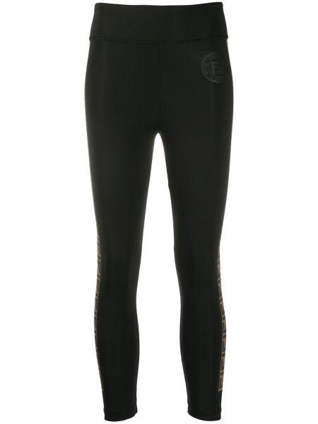 Czarny legginsy rozciągać z paskami Fendi