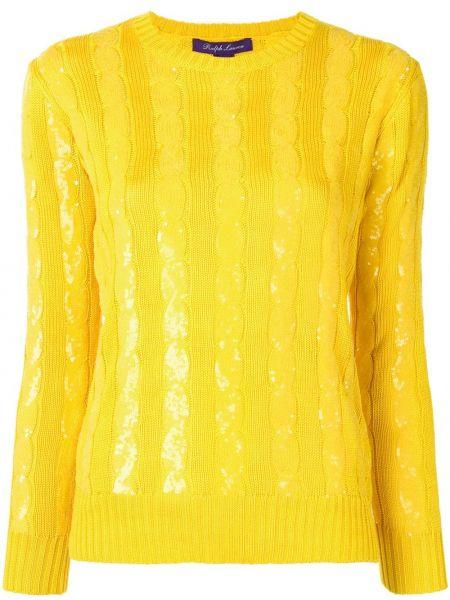 Шелковый желтый свитер в рубчик с вышивкой Ralph Lauren Collection