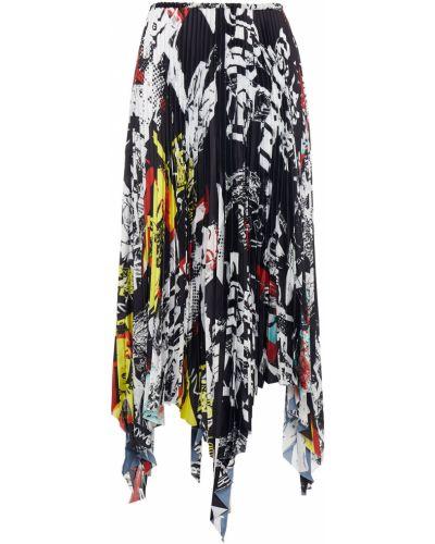 Satynowa czarna spódnica maxi asymetryczna Marques Almeida