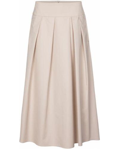 Ватная хлопковая бежевая юбка миди 's Max Mara