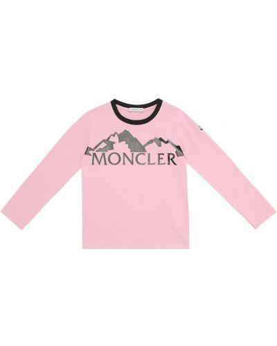 Розовая хлопковая рубашка стрейч Moncler Enfant
