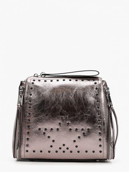 Серебряная кожаная сумка из натуральной кожи Marco Bonne