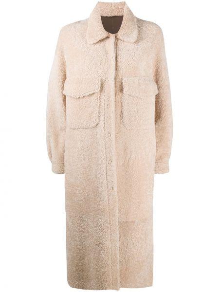 Однобортное кожаное пальто классическое с воротником Simonetta Ravizza