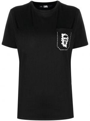 С рукавами черная футболка с вырезом Karl Lagerfeld