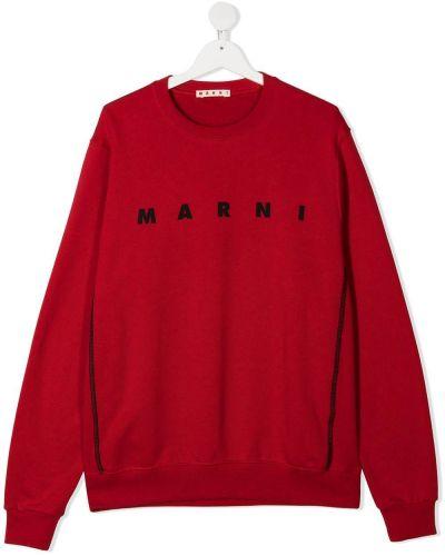 Красный хлопковый джемпер с вырезом круглый Marni Kids