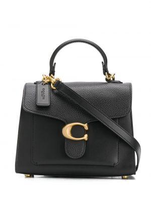 Черная кожаная сумка-тоут с карманами Coach